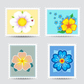 Set postmarks with a flowers — Stock Vector