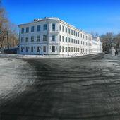 A winter road in children's secondary school. — Stock Photo
