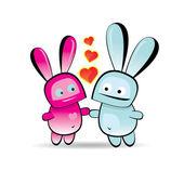 Vector cute cartoon bunny with heart — Stock Vector