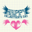 Hand drawn valentine day love beautiful card. — 图库矢量图片