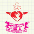 Hand drawn valentine day love beautiful card. — Vector de stock