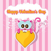 Vector cute cartoon pink cat holding heart. — Stock Vector