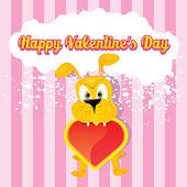 Vector cute cartoon dog holding heart. — Stock Vector