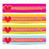 Vector Happy valentines day banner set — Stock Vector