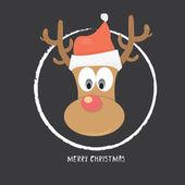 Vector Christmas reindeer in santa red hat — Stock Vector