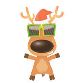 Vector cartoon Christmas reindeer character — Stock Vector