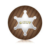 Vector Sheriff's badge on a wooden background. — Stock Vector