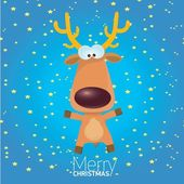 Vector cartoon Christmas reindeer character. — Stock Photo