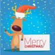 Vector Christmas reindeer holding white banner — Stock Vector