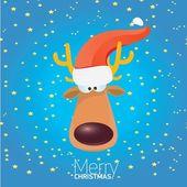 Vector cartoon Christmas reindeer character. — Stock Vector