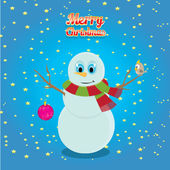 Vector snowman on blue sky background with stars. — Stock Vector