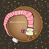 Vector comic cartoon merry christmas illustration — Stock Vector