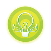 Vector green Light bulb with leaf — Stock Vector
