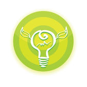 Vector green Light bulb with leaf — Vector de stock