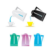 Vector electric kettle icon set. — Stock Vector