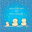 Vector cartoon merry christmas card with snowman. — Stock Vector