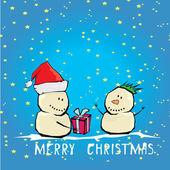 Vector cartoon merry christmas card with snowman. — Stock Vector