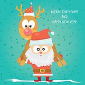 矢量漫画卡通快乐的圣诞节图 — 图库矢量图片