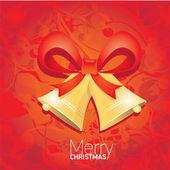 Wektor jingle bells z czerwoną kokardą. kartka świąteczna — Zdjęcie stockowe