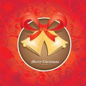 Vector de cascabeles con lazo rojo. tarjeta de Navidad — Vector de stock