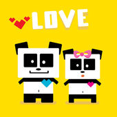 Vector cartoon Panda couple in love. — Stock Vector