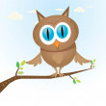 Vector cartoon cute little owl bird on tree branch — Stock Vector #37391383