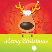 Vector Christmas reindeer holding green banner — Stock Vector