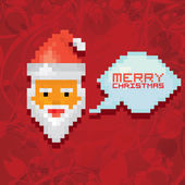 Christmas pixel style hipster greeting card. — Stock Vector