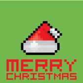 Pixel santa claus red hat — Stock Vector