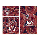 Vector happy birthday card with red flowers. — Vector de stock