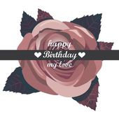 Vector happy birthday card with red flowers. — Cтоковый вектор