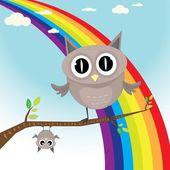 Vector cartoon cute little owl bird on tree branch — Stock Vector