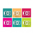 Retro Camera flat icons set vector illustration — Stock Vector
