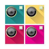 Iconos plana cámara retro set vector illustration — Vector de stock
