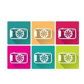 Retro Camera flat icons set vector illustration — Stock Vector