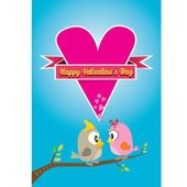Valentine day beautiful card with couple birds — Stock vektor
