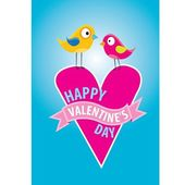 Valentine day beautiful card with couple birds — Stock Vector