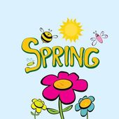 Spring word, flowers and butterfly vector. — Stock Vector