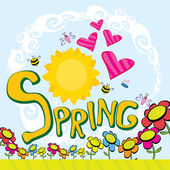 Spring flowers and birds background. — ストック写真