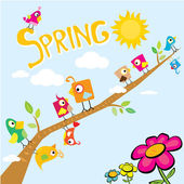 Spring flowers and birds vector background. — Stock Vector