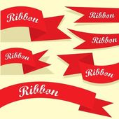 Set of retro red ribbons and labels. — Vecteur