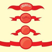 Set of retro red ribbons and labels. — Stock Vector