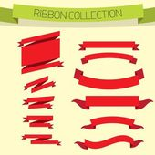 Set of retro red ribbons and labels. — Vector de stock