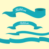 Set of retro blue ribbons and labels. — 图库矢量图片