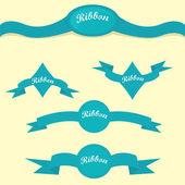 Set of retro blue ribbons and labels. — Stockvektor