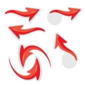 Vector 3d red glossy glass arrows — Stock vektor