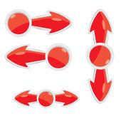 Vector 3d red glossy glass arrows — Stockvektor