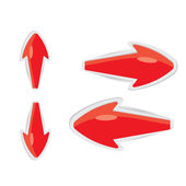 Vector 3d red glossy glass arrows — Stock vektor