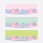 Sammlung Banner Blumenmuster — Stockvektor