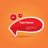 Vector abstract red paper banner or speech bubble — ストックベクタ
